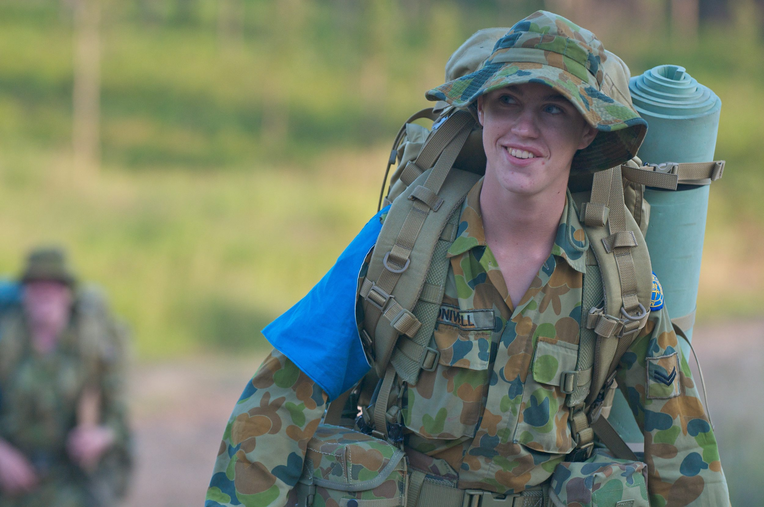 An Australian Army Cadet moves to their night location during the Chief of Army Cadet Team Challenge 2012.